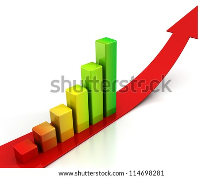 red arrow and colorful bar graph on white background - stock photo