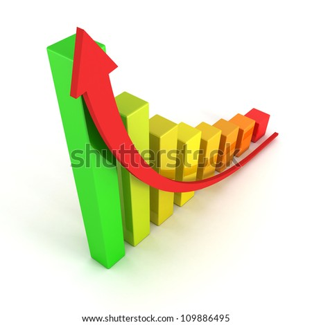 red arrow and success colorful graph growing up - stock photo