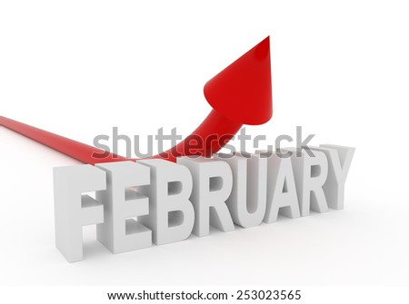 red arrow bending upwards over a 3d february text