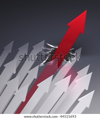 Red Arrow Breaks Through Glass Ceiling - stock photo