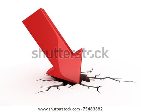 red arrow crash - bankruptcy, financial collapse, depression, failure, money crisis 3d concept - stock photo
