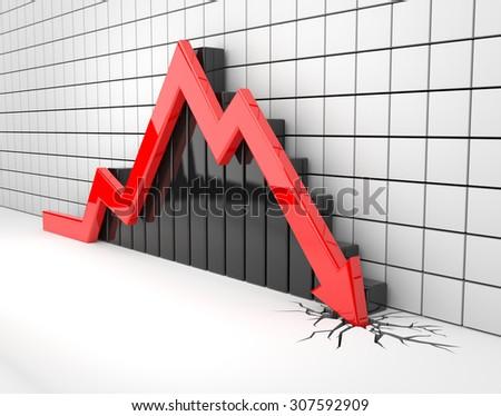 red arrow crashes through the ground - stock photo