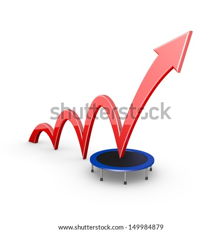 red arrow gets a boost from a trampoline - stock photo