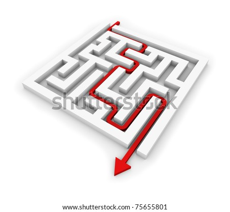 Red arrow going through the maze. Conceptual illustration. - stock photo