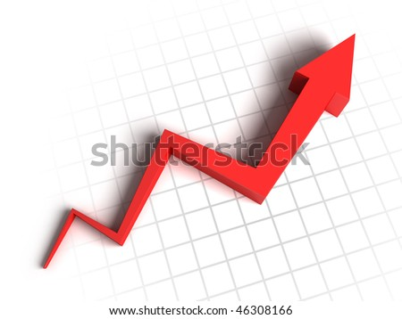 Red arrow graph - stock photo