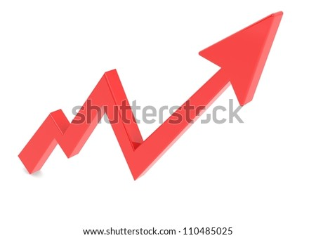 Red arrow graph up - stock photo