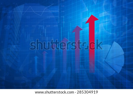 Red arrow head with Financial chart and graphs on city background, blue tone