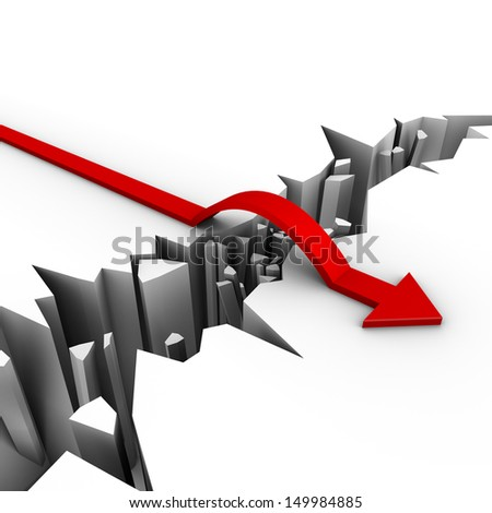 red arrow jumps over obstacle - stock photo