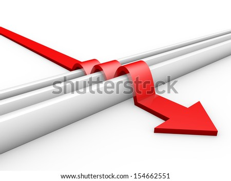 red arrow jumps over obstacles - stock photo