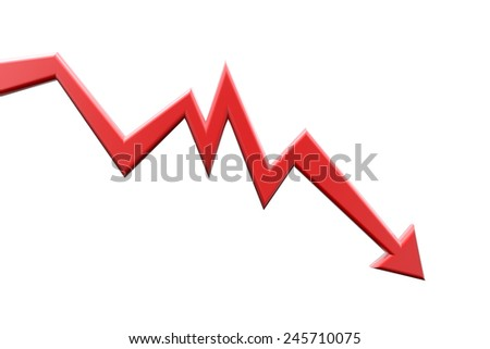 Red arrow moving down. Graph chart. Business and finance concept of recession process or failure. - stock photo