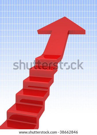 red arrow moving up - stock photo