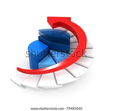 Red Arrow Moving Upstairs with Business Graph - stock photo