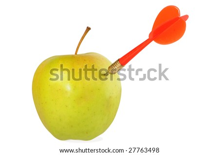 red arrow of darts in green apple - stock photo