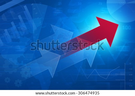 Red arrow on financial graph and chart, success business concept, Elements of this image furnished by NASA - stock photo