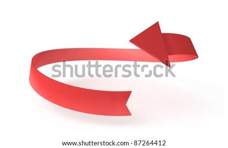 red arrow on white background - stock photo