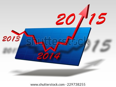 red arrow over chart shows success for new year 2015 - stock photo