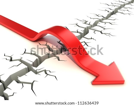 red arrow passing obstacle - risk and success 3d concept - stock photo