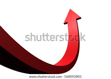 Red arrow pointing up - stock photo