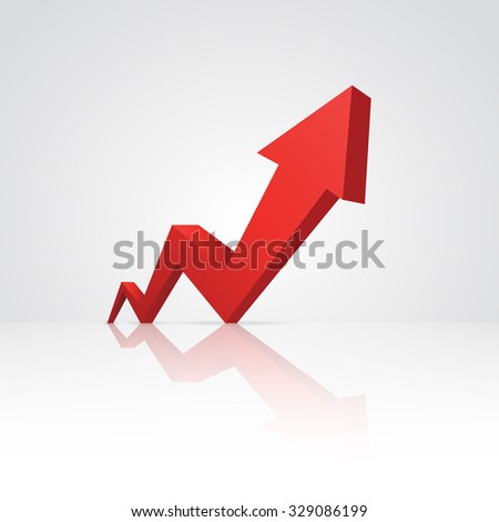 Red arrow pointing up. - stock photo
