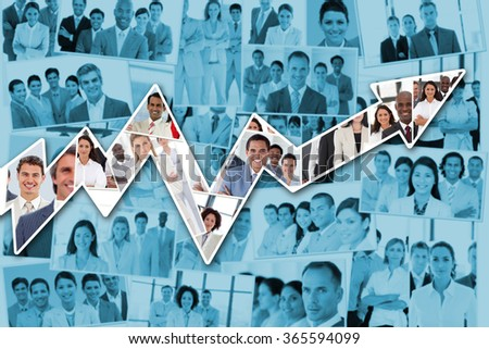 Red arrow pointing up against collage of business tems - stock photo