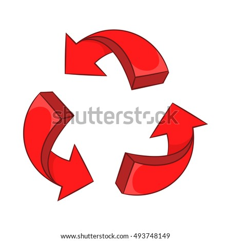 Red arrow recycling icon in cartoon style on a white background  illustration