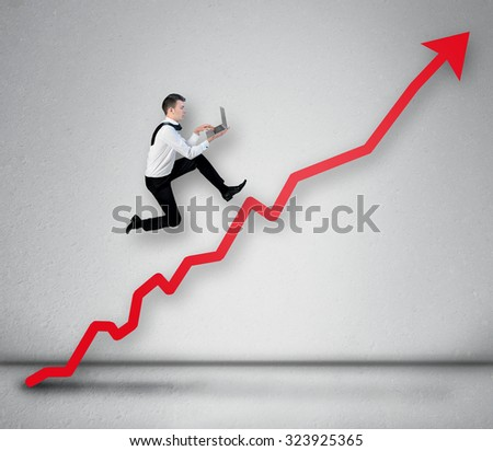 Red arrow report growth statistics - stock photo