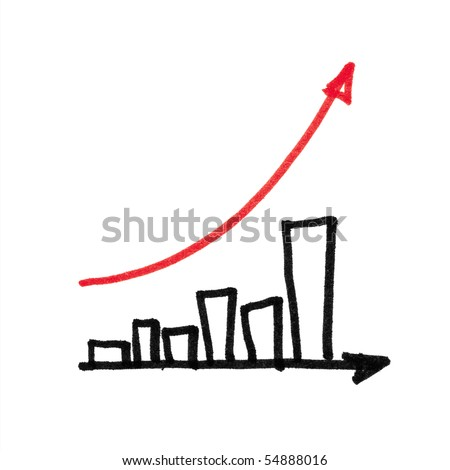Red arrow successful graph. Hand drawing, isolated. - stock photo