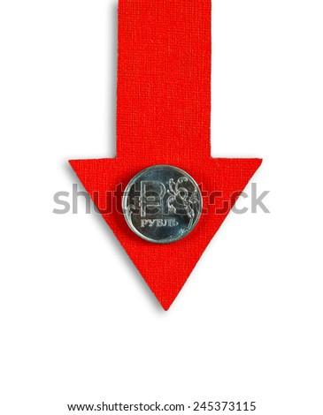 Red Arrow with Russian Ruble Down on the White Background - stock photo