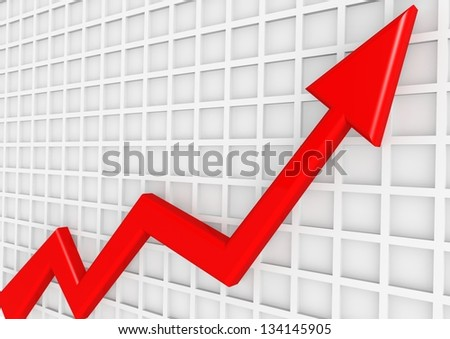 Red arrow with white board - stock photo