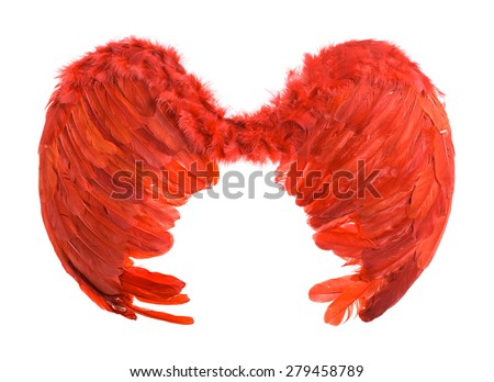 Red artificial angel wings. Isolated on a white background. - stock photo