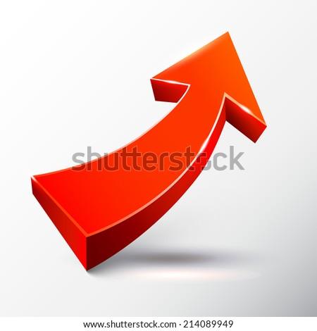 Red ascending arrow.  - stock photo