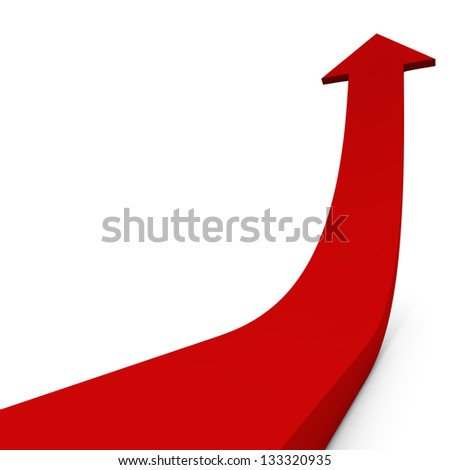 Red ascending arrow isolated on white background concept image. - stock photo