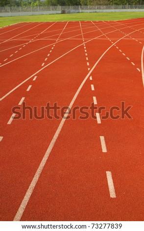 Red Asphalt for runners. - stock photo