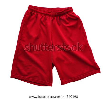 Red athletic shorts isolated on white