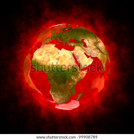Red aura of Earth - Europe Africa and Asia Elements of this image furnished by NASA. - stock photo