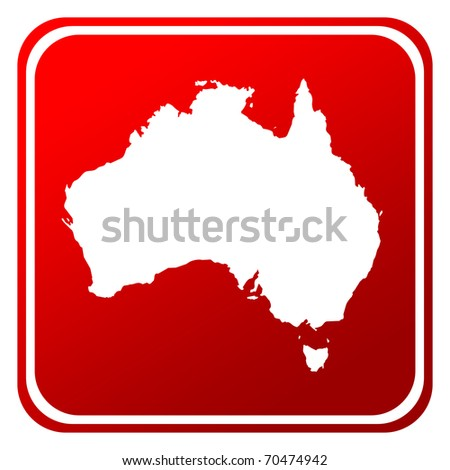 Red Australia map button isolated on white background.