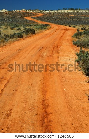 Red Australian Rural Road - stock photo