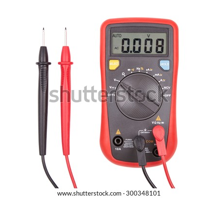 Red automatic multimeter. Measuring device isolated on white - stock photo