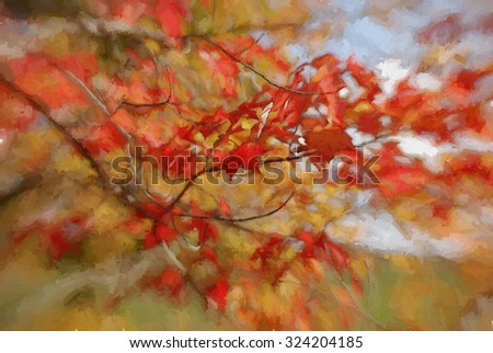 Red autumn leaves turned into a colorful painting - stock photo
