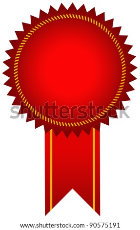Red award seal with ribbon - stock photo