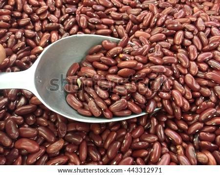 red azuki beans, red beans, adzuki beans, azuki beans, red grains, raw beans, red beans background - stock photo