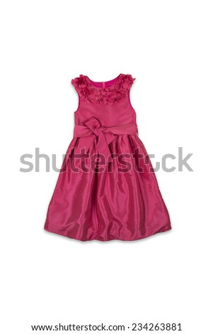 red baby dress with a bow on a white background - stock photo