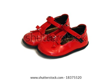 red baby shoes isolated on white - stock photo