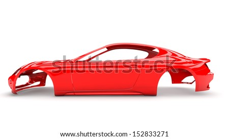 Red back body car with no wheel, engine,interior - stock photo