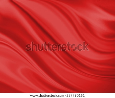 red background abstract cloth or liquid wave illustration. Wavy folds of silk texture satin or velvet material. Elegant curves of red shiny material.  - stock photo