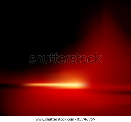Red background - abstract horizon with glowing sunlight - also suitable for Christmas designs - stock photo