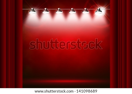 red background illuminated by spotlights and sparkles - stock photo