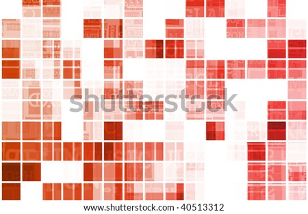 Red Background Modern Data as a Art - stock photo