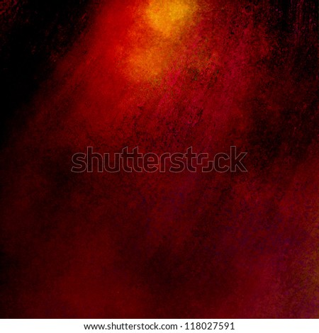 red background or black background, old distressed vintage grunge background texture border with bright dramatic spotlight in warm colors of gold and orange, graphic art image use for brochure or web - stock photo