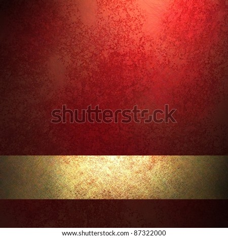 red background with black vignette framing outside border with sunny highlight center, deep vintage grunge texture, gold ribbon stripe layout design, copy space, for Christmas or valentine's day - stock photo